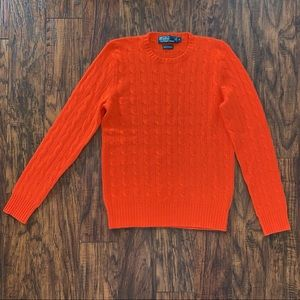 Polo Ralph Lauren Orange Cable Cashmere Sweater